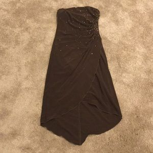 Brown Strapless Cocktail or Party Dress